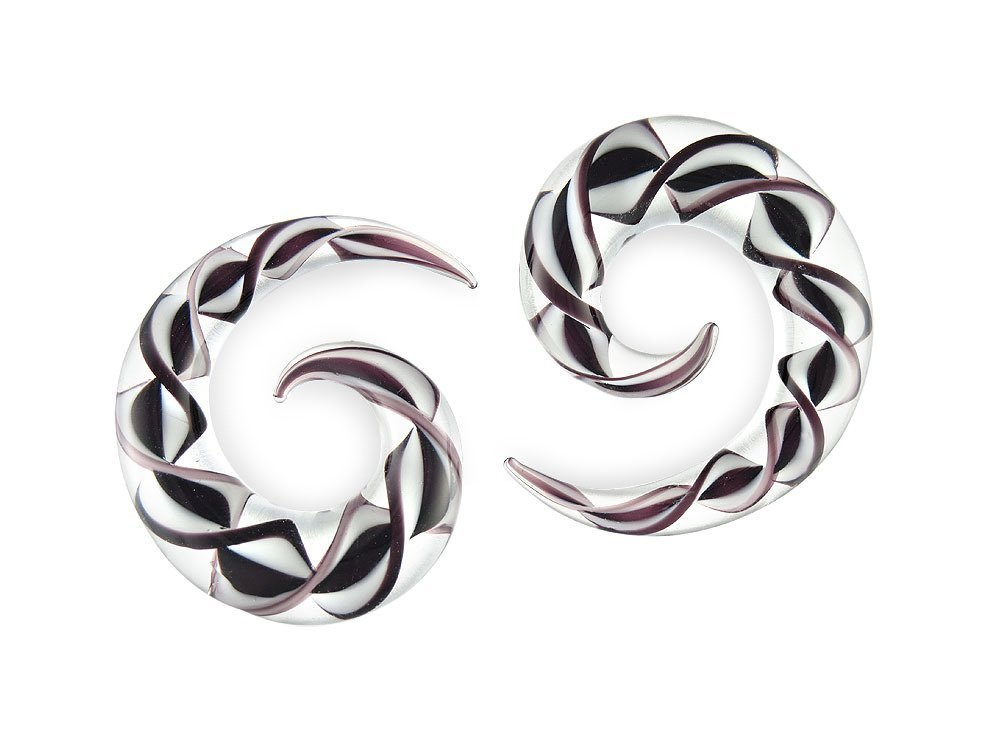 Pair Black and White Ribbon Pyrex Glass Spiral 1/2 inch 13mm by Scrap Metal 23