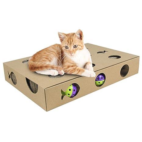 Mlec tech Rascador para Gatos con Pelota Alfombrilla Rascadore Almohadilla de Gato Durable Reciclable de Cartón