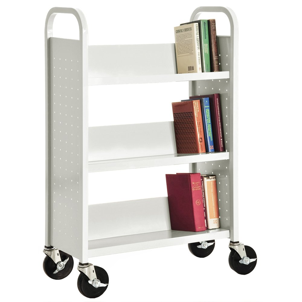 Sandusky Lee SL330-22 Single Sided Sloped Shelf Book Truck, 14'' Length, 32'' Width, 46'' Height, 3 Shelves, White