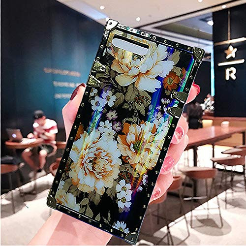 KAPADSON iPhone 7 Plus,iPhone 8 Plus Newest Laser Colorful Flower Shinning Skin Design TPU Gold Square Corner Flexible Back Case Cover - Flower Yellow