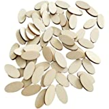NUOBESTY 200pcs Unfinished Wood Oval Slices Natural Rustic Wooden Cutout Oval Wood Pieces Tag for DIY Craft Wedding Centerpie