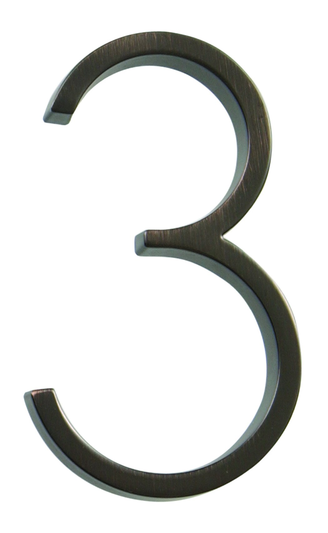 Distinctions by Hillman 843229 5-Inch Die Cast Floating/Flush Mount House Number, Aged Bronze, Number 3
