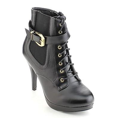BONNIBEL MATTY-2 Women's Lace Up Buckle Strap Elastic Dress Ankle booties Color:BLACK Size:7