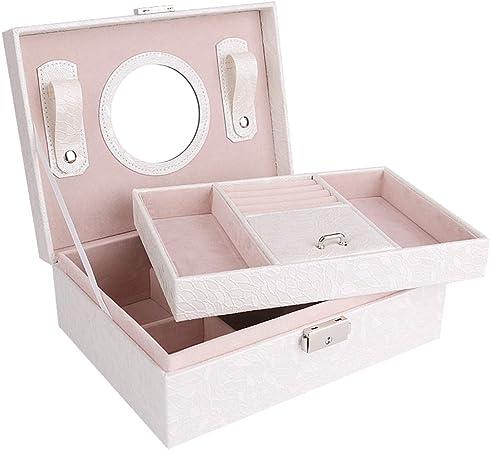HM&DX 2-Capas Caja joyero Organizador, PU Cuero Aterciopelado Cerradura Estuche de Viaje Compartimento múltiple Organizador de la joyería para niñas Mujer -Blanco Espejo: Amazon.es: Hogar