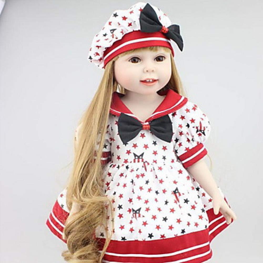 Reborn Puppe Mädchen Puppe Baby 18 Zoll Silikon-Neugeborenen lebensechte niedliche Kind sicher ungiftig Hand applizierte Wimpern Kinder Unisex   Mädchen Spielzeug Geburtstag Weihnachtsgeschenk, rot