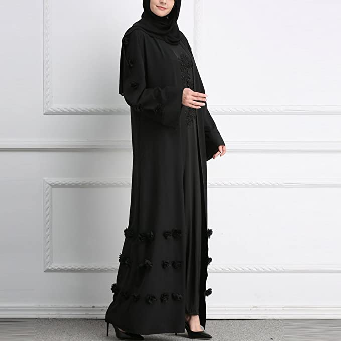 Zhhlaixing Flowers Muslims Long Cocktail Robe Islamic Cardigan Abaya Dresses Long Sleeve Outerwear in 3 Colors: Amazon.co.uk: Clothing