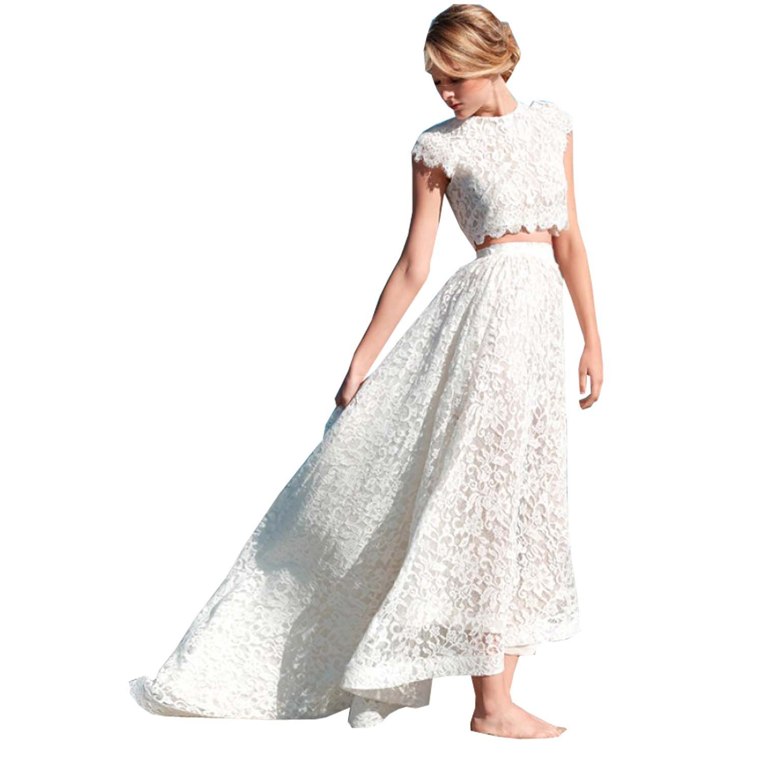 Kelaixiang Lace Jewel Beach Wedding Dress for Women 2PCS with Sleeves