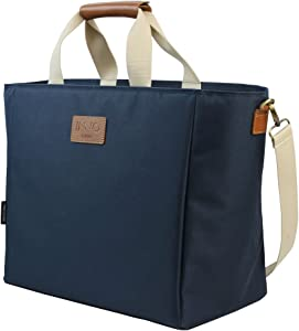 INNO STAGE Extra Large Picnic Cooler Tote Bag, Portable and Soft Insulated Camping Coolers for Outdoor Beach Travel Navy Blue