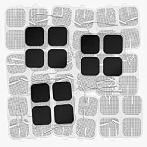 """DONECO 2"""" Square TENS Unit Electrodes, 48-Pack Electro Pads for TENS Therapy - Universally Compatible with Most TENS Machine Models - 48-Piece Value Pack - Self-Adhering, Reusable and Premium Quality"""