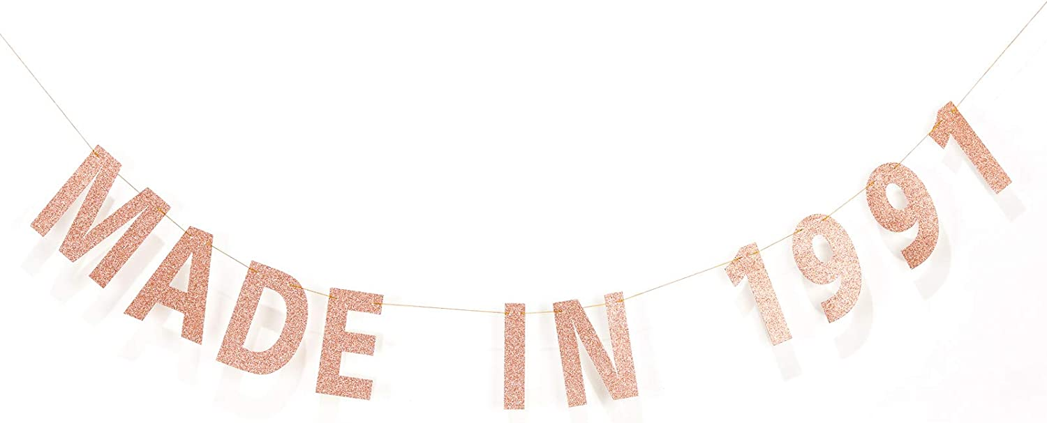 Amazon Com Meysimoon Funny 30th Birthday Decorations Banner Rose Gold Glitter Made In 1991 Pre Strung Sign For Him Her 30 Birthday Party Decor Rose Gold 1991 Health Personal Care
