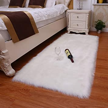 Amazon.com: Alfombra de piel de cordero sintética, alfombra ...