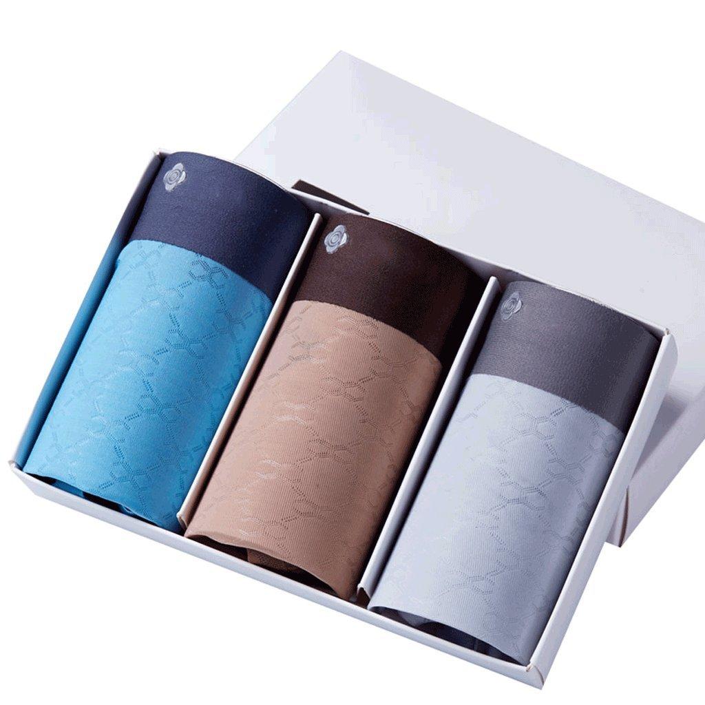 CXSM Seamless Boxer Briefs Gift Hombre Ice Silky Transpirable Sexy Mid-Rise Gift Briefs Box Ropa Interior para Hombres (Paquete de 3) (Tamaño : XXL) b9d6c8
