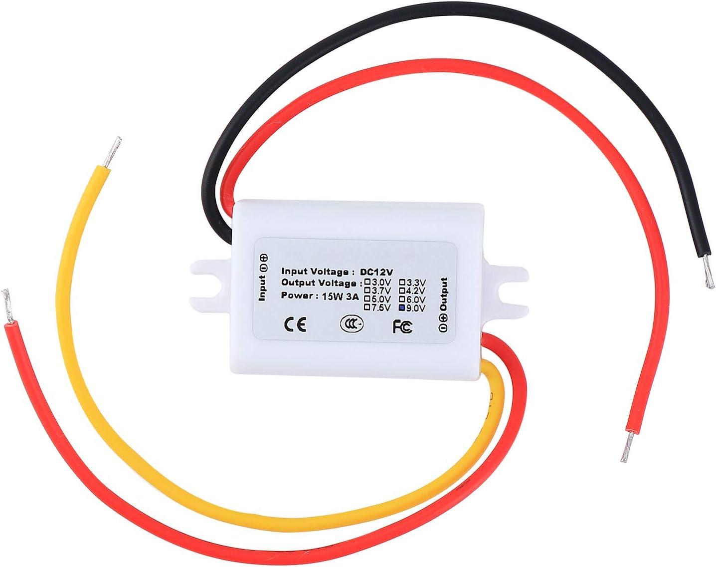 HSEAMALL DC//DC 12V to 9V 2A Power Supply Converter for Car LED Display White