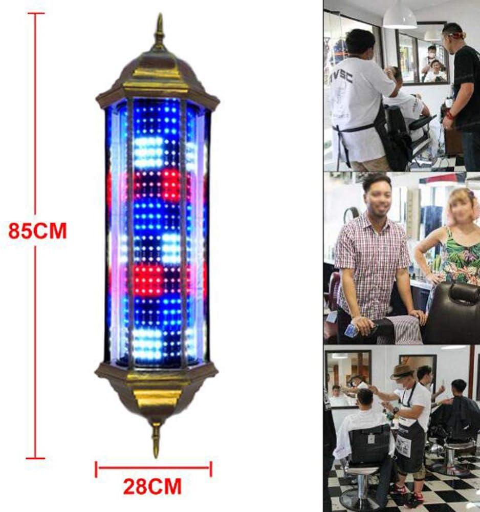 LED Poste de Barbero Rojo Blanco Azul Luminoso Giratorio Rayas Impermeable Ligero Peluquería Salón Tienda Signo Muro-Montado Lámpara,85CM B