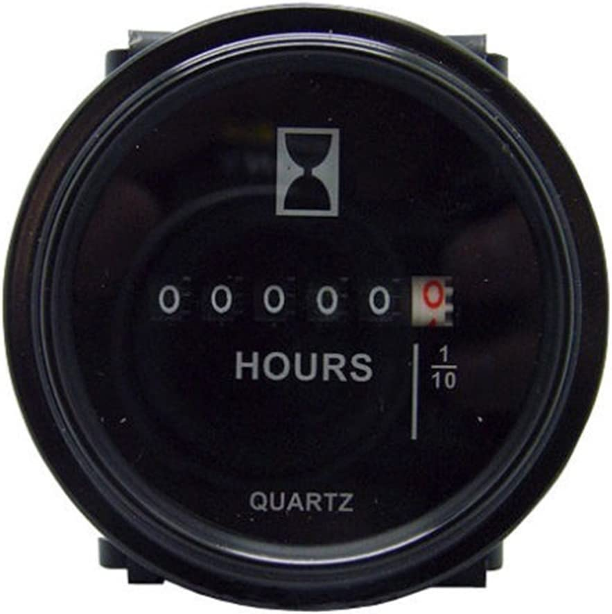 Round Hour Meter Gauge Hourmeter 6 to 80V Boat Outboard Inboard Marine Lawn Tractor