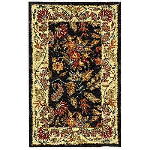(Safavieh Chelsea Collection HK141B Hand-Hooked Black Premium Wool Area Rug (2'6