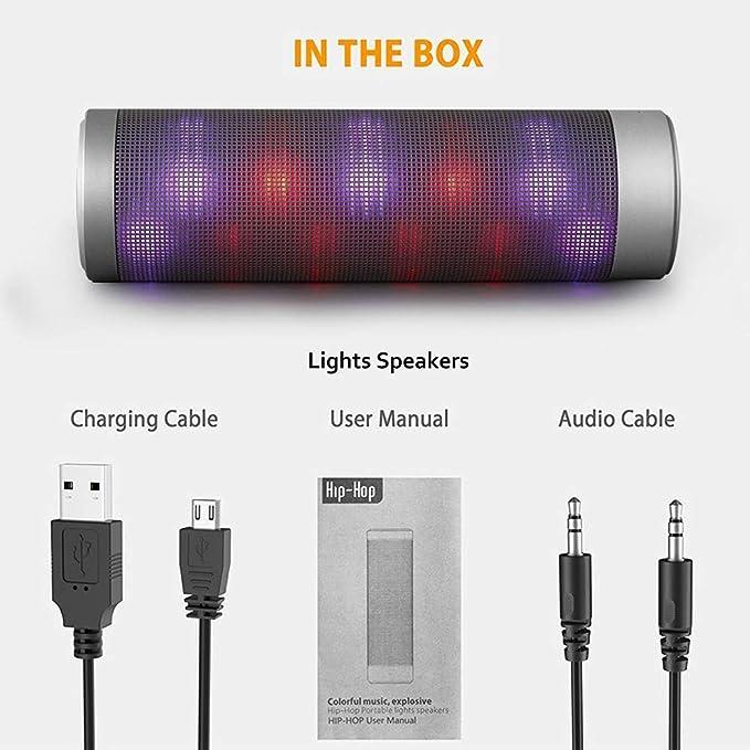 Wireless Bluetooth Speaker Hip-HOP Portable Super Bass LED Magic Light Speaker