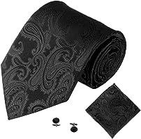 Ecosin Solid Color 3PCS Classic Men Party Tie Necktie Pocket Square Handkerchief Cuff Link
