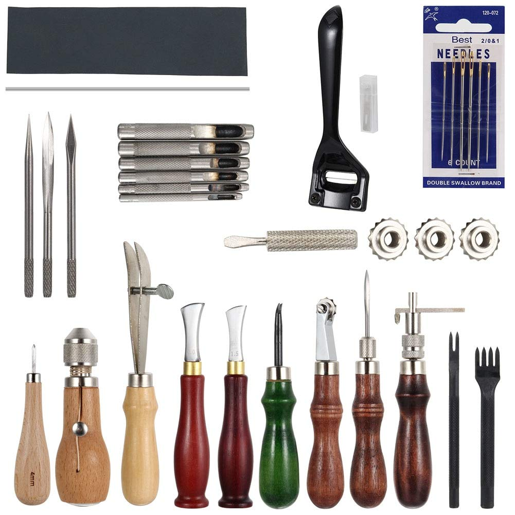 Craft Tools: 19 Pcs Leather Sewing Tools Craft DIY Hand Stitching Awl Waxed Thimble Canvas Leather Craft TB Sale