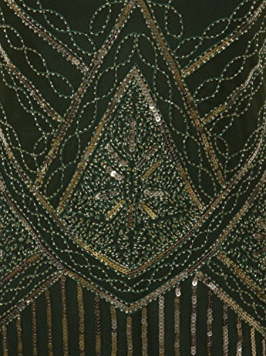 Fringed 1920s Flapper Gastby Vijiv Gold Dress Women's Green Embellished Sequined Inspired Z5wYx0q