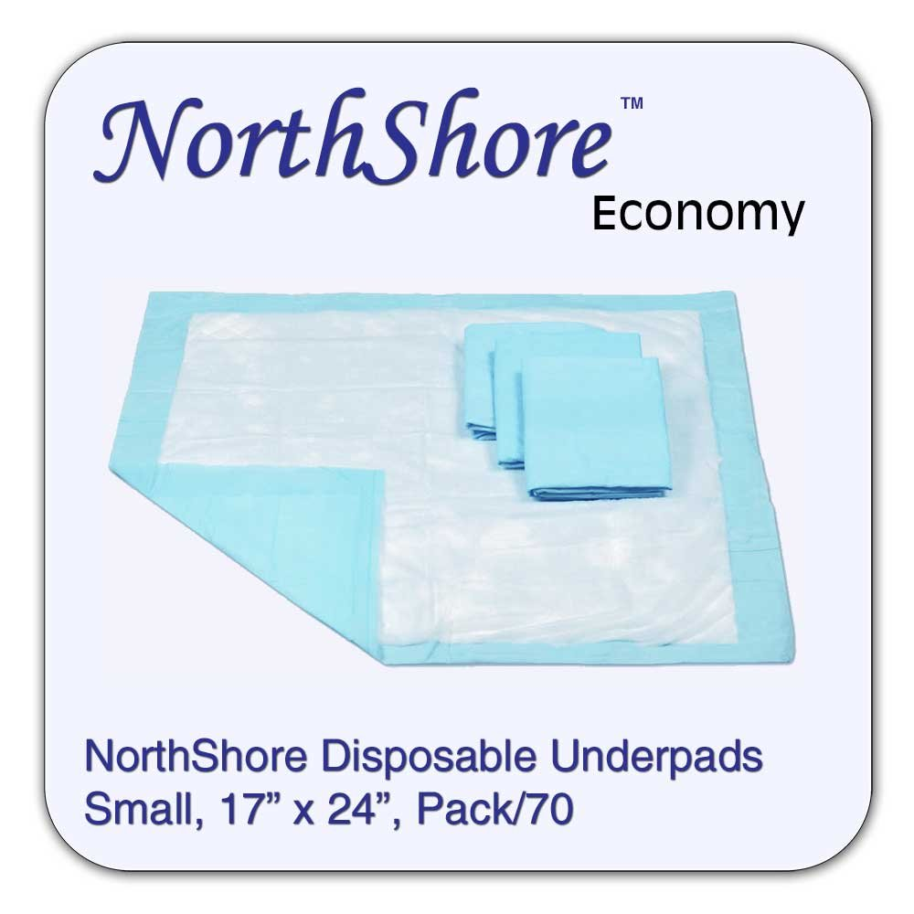 NorthShore Economy, 17 x 24, 6 oz., Blue Disposable Underpads (Chux), Small, Pack/70