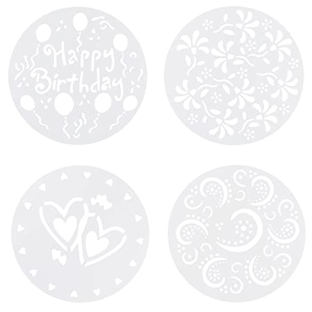 chictry 4pcs cake decorating tool spary mould happy birthday heart