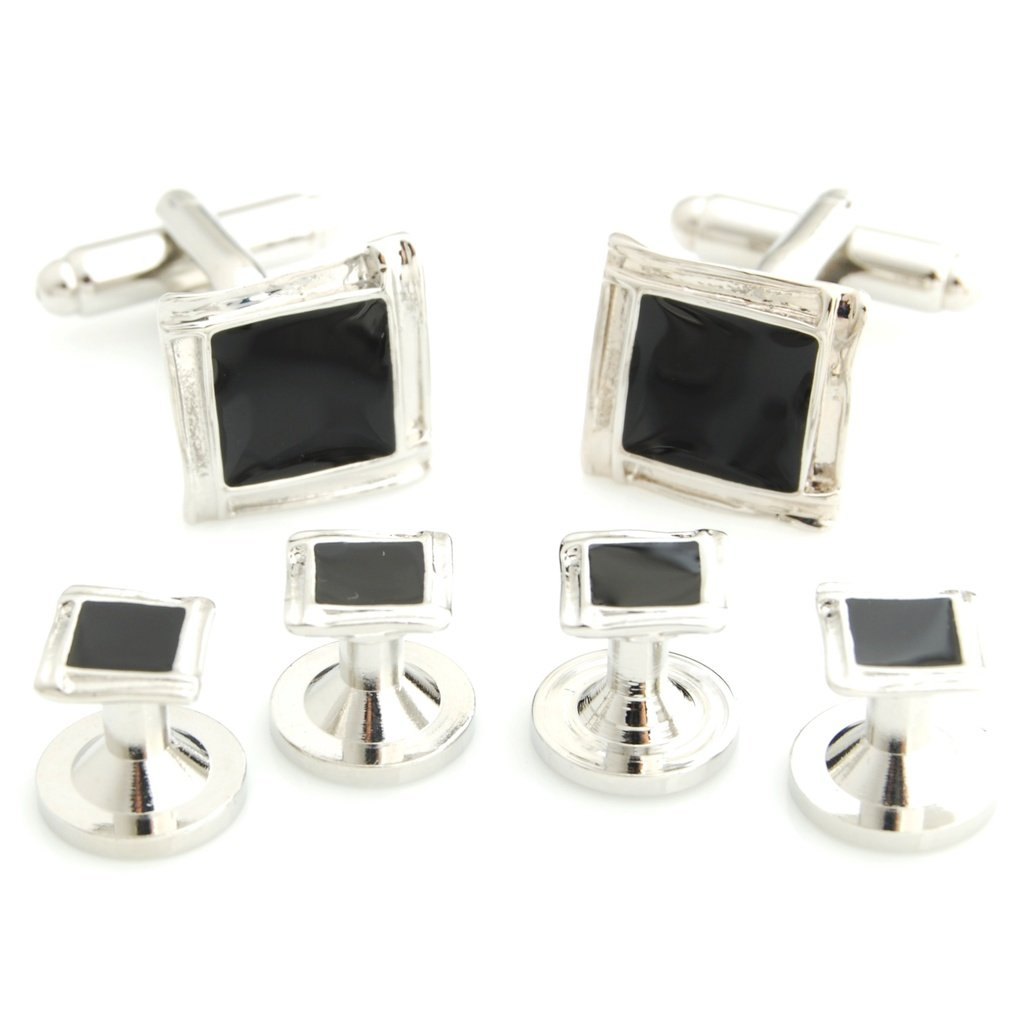 The Smart Man Elegant Black Enamel Square Cufflinks and Tuxedo Studs Set for Mens Gift