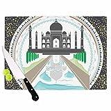 KESS InHouse Famenxt ''The Taj Mahal India'' Green Gray Cutting Board, 11.5'' x 8.25'', Multicolor