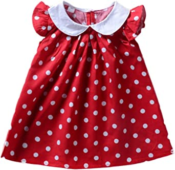 Summer Casual Baby Girls Dot Print Dress Kids Toddler Short Sleeve Sundress New