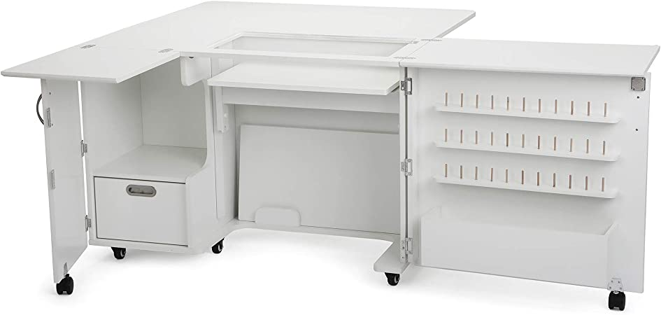 Arrow K8411 Wallaby Ii Kangaroo Sewing Cutting Quilting Crafting Cabinet And Table Includes Storage And Airlift Portable With Wheels White Ash Finish