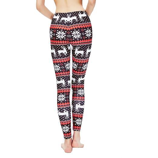 fb0f7411607ef Ensasa Womens Autumn Winter Snowflake Graphic Printed Stretchy Leggings  Pants at Amazon Women's Clothing store: