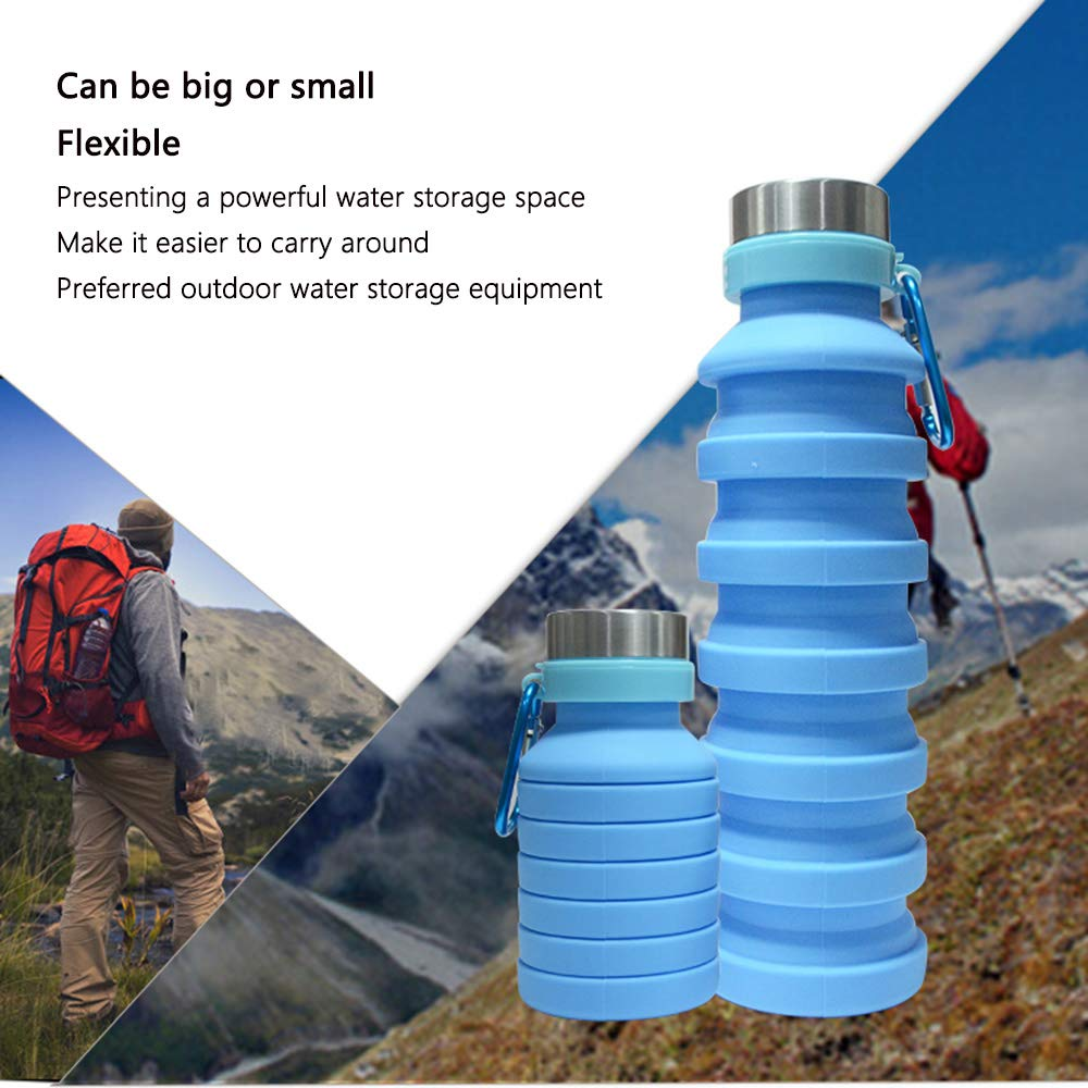 Gym Kadiss Collapsible Water Bottle BPA Free FDA Approved Food-Grade Silicone Portable Leak Proof Travel Water Bottle Hiking 18oz Water Bottle for Outdoor Blue Foldable Water Bottle