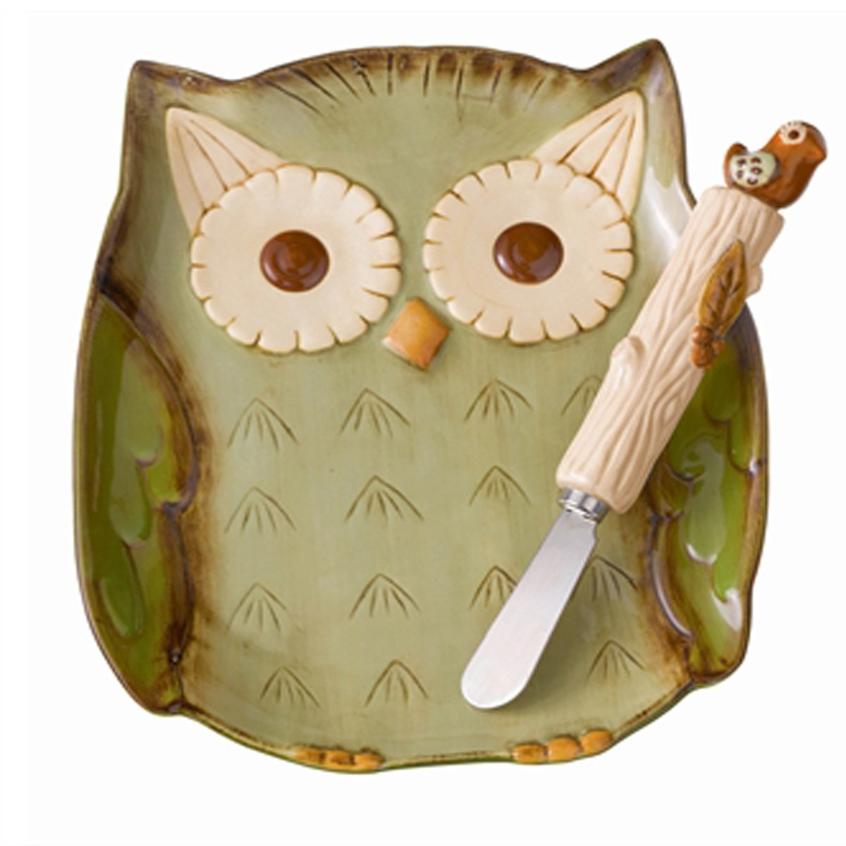 Grasslands Road Crimson Hollow Owl Plate and Bird Spreader
