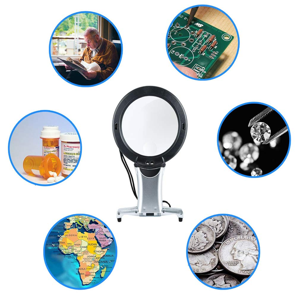 Hands Free LED Loupe Lighted Reading Magnifier Neck Wear Magnifying Glass for Seniors Sewing Cross Stitch Embroidery