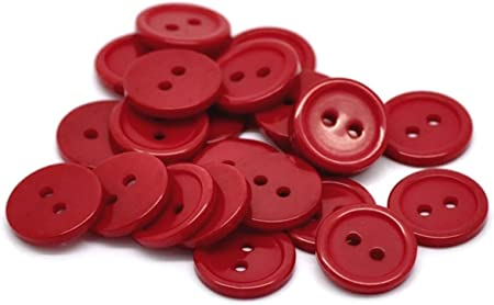 Plain Coloured 4-Hole Plastic Buttons Size 15mm Various Colours Available