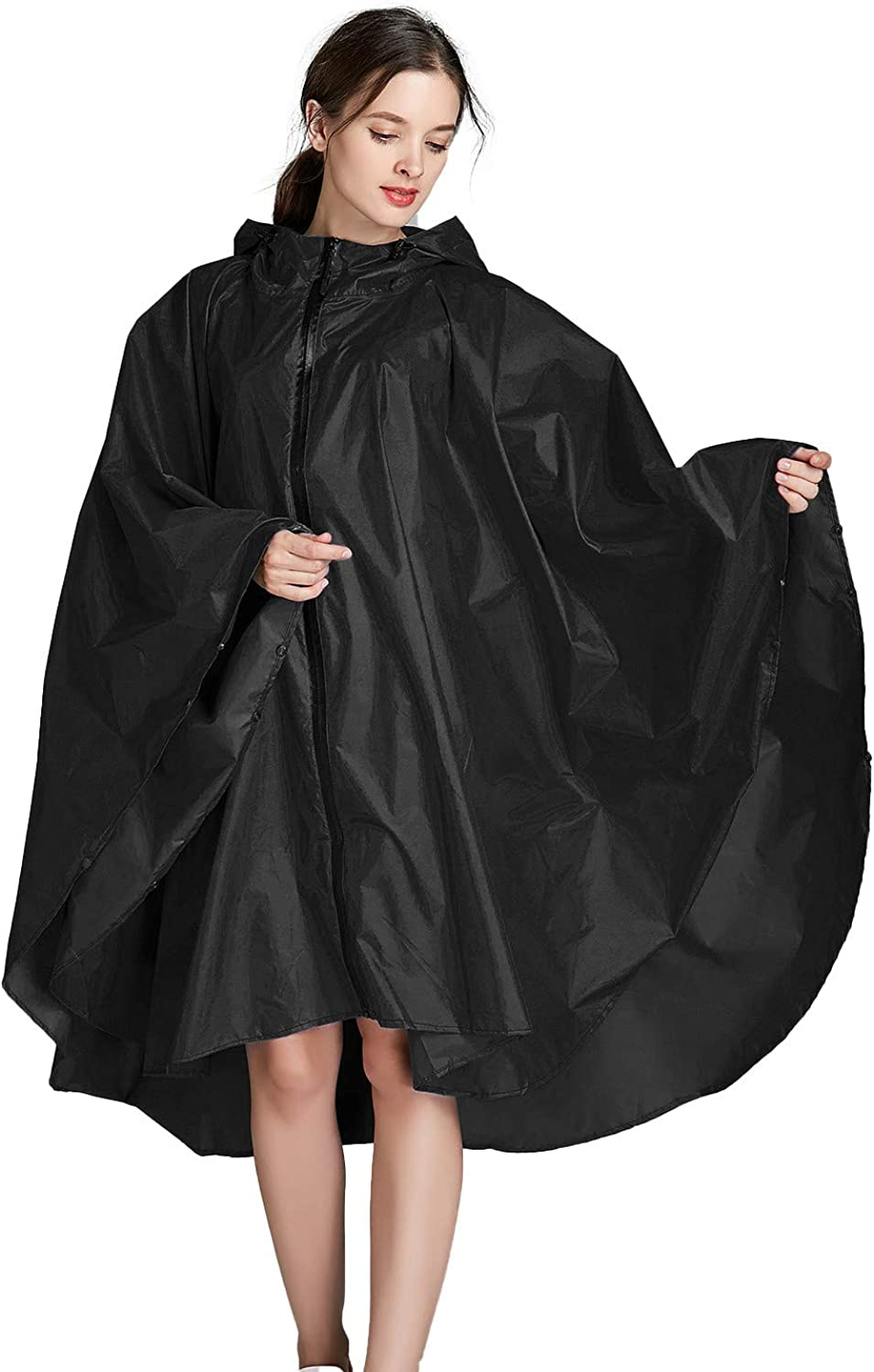 Poncho de Lluvia para Mujer con Capucha Impermeable Unisex con Cremallera al Aire Libre Impermeable chuangminghangqi