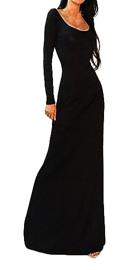 Battercake Mujer Vestidos De Noche Largos Fiesta Manga Larga Cuello Redondo Slim Casuales Mujeres Fit Espalda Descubierta Paquete De Cadera Fashion Hermoso ...