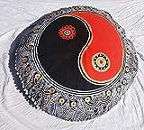 Large Mandala Pillowcases 32'' Decorative Throw Round Floor Cushions Indian Pouf Ottoman Roundie Boho Pillow Shams Pom Pom Outdoor Cushion Cover