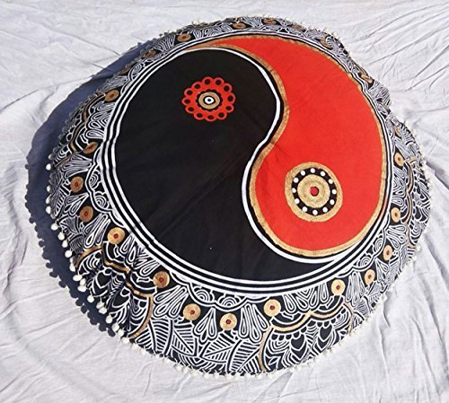 Large Mandala Pillowcases 32'' Decorative Throw Round Floor Cushions Indian Pouf Ottoman Roundie Boho Pillow Shams Pom Pom Outdoor Cushion Cover by Gokul Handloom