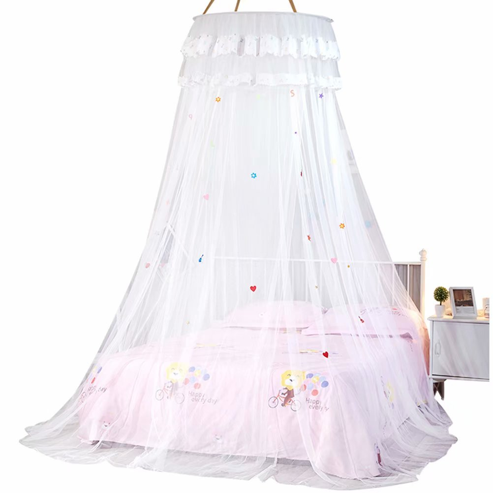 Mosquito Bed Netting Canopy Netting Dome with Letters and Numbers for Baby Kids Toddlers(Comes with a pocket of flowers)
