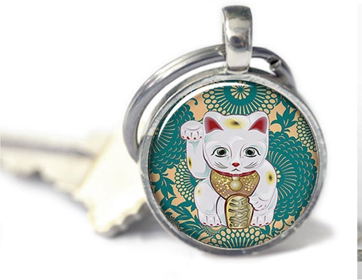 chat porte-bonheur Bijoux Porte-cl/és chat bijoux Maneki Neko Sarcelle Art Porte-cl/és Charm Lucky Cat Keychain Charm