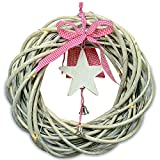 The Americana Rustic Welcome LED Wicker Wreath with Bells, Ribbons and Star, Willow, Woven Wicker, Approx. 1 Ft D, 18 Micro LEDs, Battery Powered 2 AA, (Not Included,) by Whole House Worlds