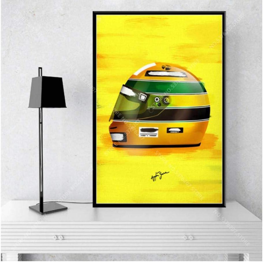 MTHONGYAO P/óster Ayrton Senna Formula 1 Racing Car Helmetsposters and Prints Wall Art Canvas Painting Decoraci/ón del hogar 50 70Cm Sin Marco