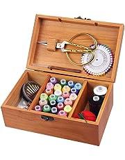 Jannyshop Caja de Costura de Madera Caja de Almacenamiento de la Aguja del Kit con Herramientas