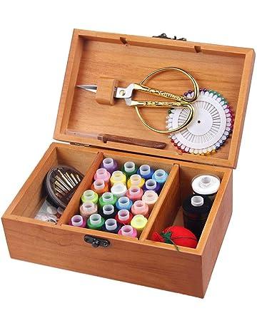 Caja de almacenamiento de costura de madera, juego de cesta de costura de madera con