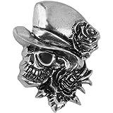Broche Forme de Crâne Rose Décoration pour Fête Halloween Couleur d'Argent Antique