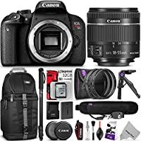 Canon EOS Rebel T7i DSLR Camera with 18-55mm Lens w/ Advanced Photo and Travel Bundle