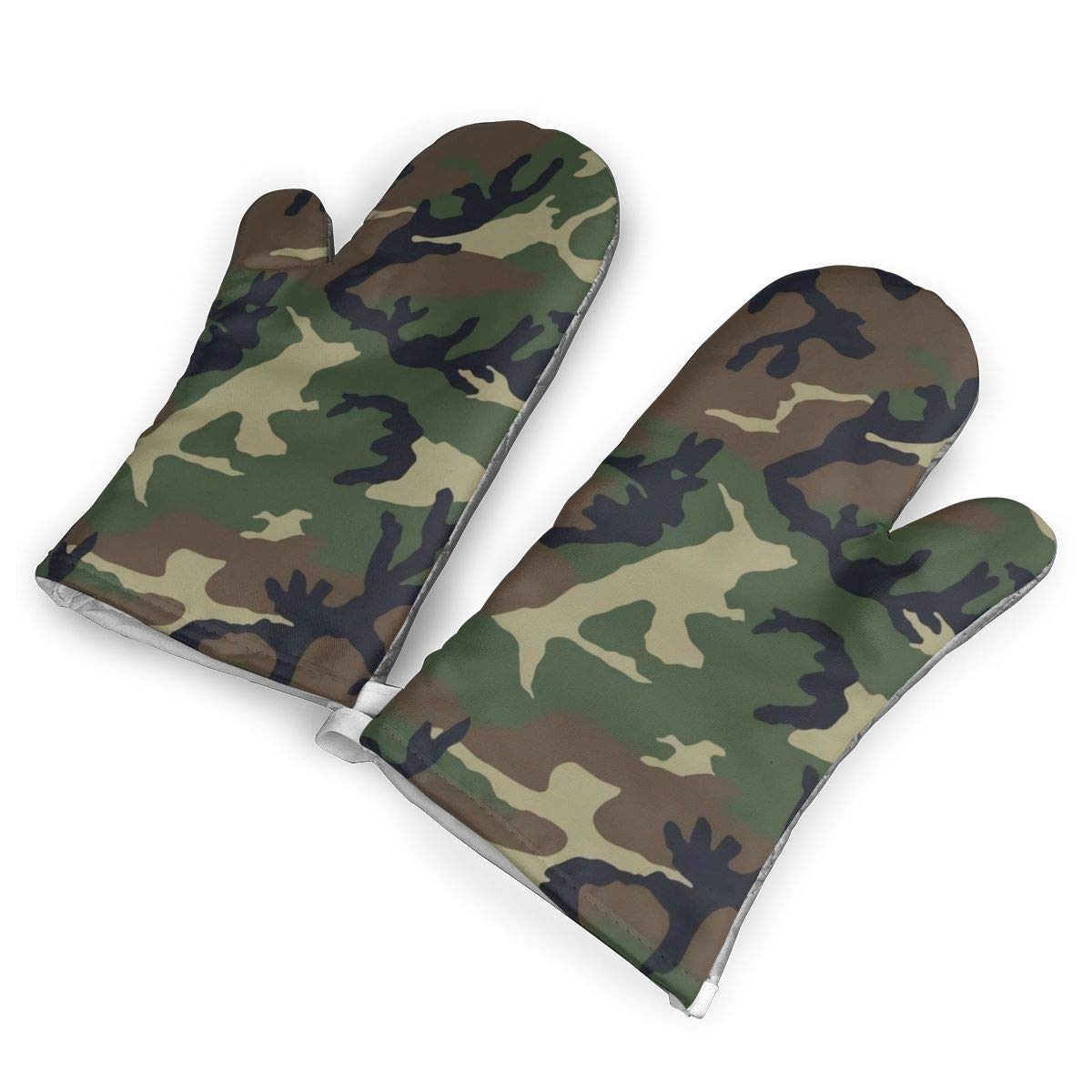 M81 Woodland Camo Heat Resistant Oven Gloves,Non-Slip Easy to Use Oven Mitts for Cooking