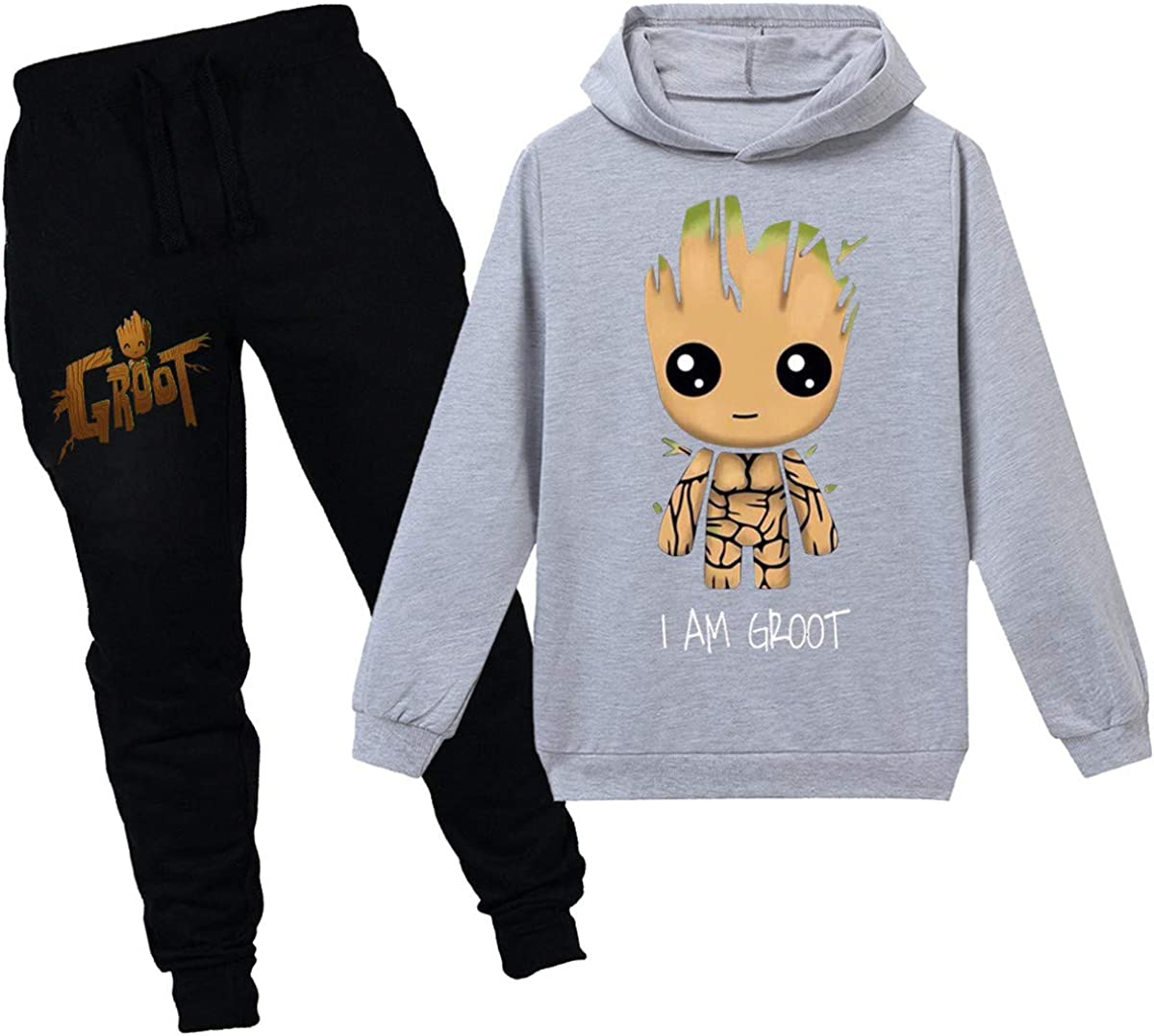 NONEM Groot Hoodies-Youth Boys Pullover Sweatshirts Long Sleeve Sweater 2 Pcs Hooded Sets