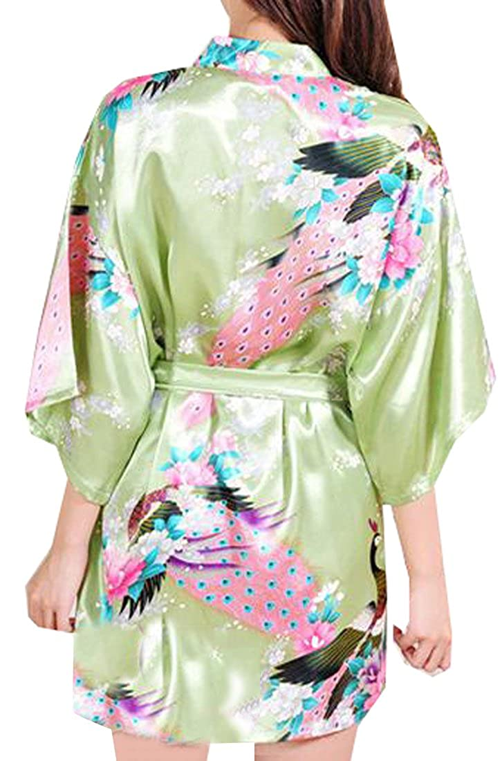 KXP Women s Sexy Peacock Printing Short Sleeve Kimono Silk Robe Green S at  Amazon Women s Clothing store  81aeaf1a8